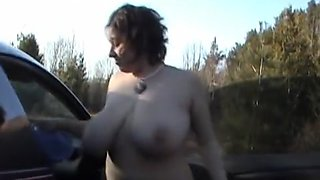 Amateur massive big tits outdoor flashing by sports car