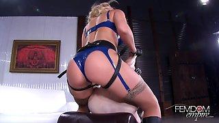 hot blonde loves to dominate her slave