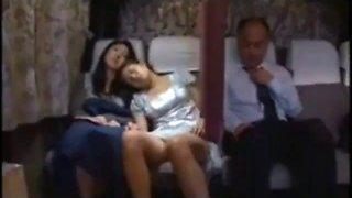 Japanese daugher fuck by father while mother is sleepy beside her on bus 3