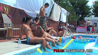 Hot and stunning Bella Venusia likes hard group sex by the pool