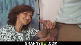 sewing old granny pleases young guy