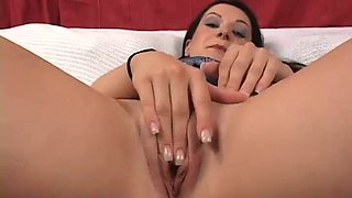 Real svelte brunette Renee Pornero rubs her clit before riding firm cock