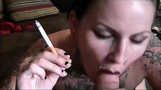 Amateur BBW Smoking Fetish Blond Gives Blowjob