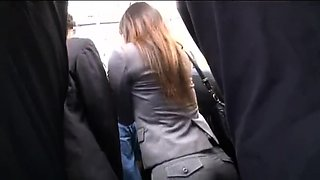 OL was embarrassed on bus 1 - Watch Part 2 On HDMilfCam.com