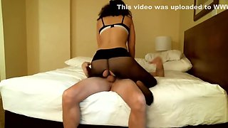 submisive blindfolded badgirl in ripped pantyhose sucking and fucking