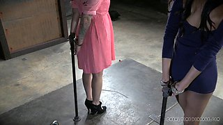 Chick with small tits tied up during a nice BDSM game