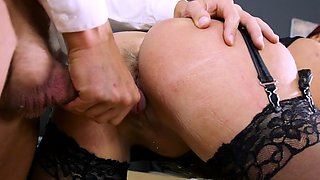 Sexy Boss Emma Butt Bends Over For New Employee