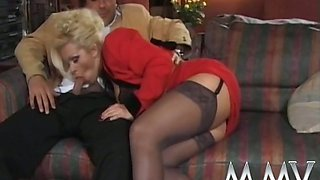Huge breasted blonde bitch in black stockings pleases condomed dicks