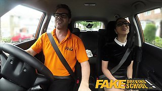 Fake Driving School Black haired Euro babe with Glasses