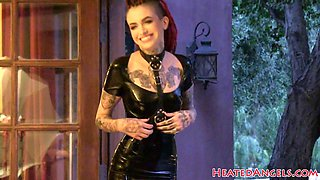 Petite goth babe filmed at modeling