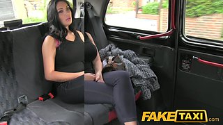 FakeTaxi: Show gal with large milk cans copulates for money