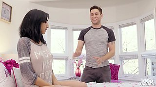 Cute hottie Destiny Love gives a blowjob and tugjob to her step brother