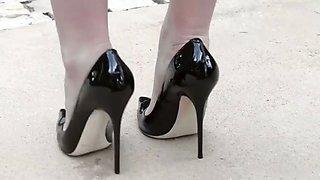 Walk in high heels