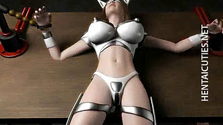 Hottie 3D anime slave gets tied up