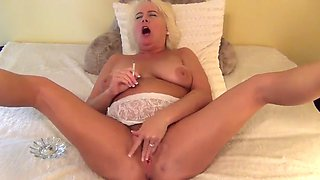 Smoking granny and hairy pussy show