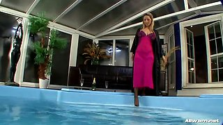 three lesbians get wet in the pool