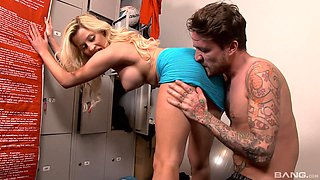 Blonde Sienna Day rides a fat dick while her big tits bounce