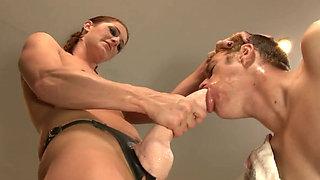 Charming brunette chick Cici Rhodes dominates Chad Diamond