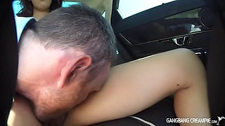 Sexy girl in glasses sucks and fucks in back seat of car
