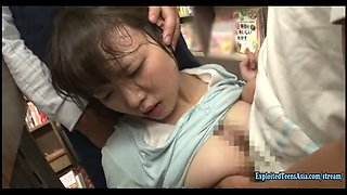 Sanada Miki Ambushed In Book Store Jeans Cut At The Crutch And Made To Fuck Massive Tits