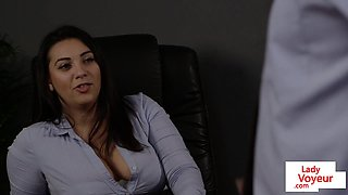 Euro office babe punishes sub guy with CFNM