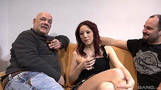 Redhead MILF Natalie Hot gets both her holes filled by two cocks