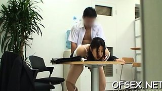 Sexy young secretary provokes a stud in the office
