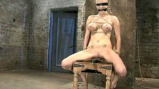 Big Breasted Blonde Tied Up and Abused By Hot Girl and Dude