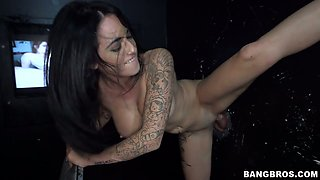 Hot Tattooed Girl does the glory hole. Part 2