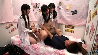 Naughty Oriental schoolgirls satisfy their desire for cock