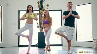 Nicole and Ariana hook up with a guy for a fuck during a yoga class