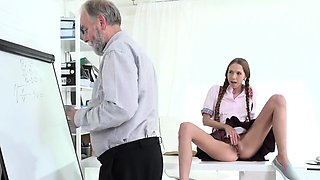Nice schoolgirl gets teased and banged by aged tutor58fdD