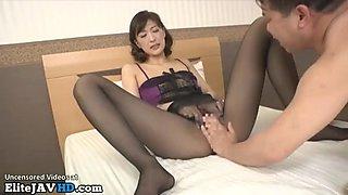 Jav stunning housewife has sex in black pantyhose