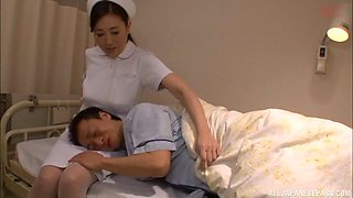Kinky Japanese nurse would like the patient's cock inside her pussy