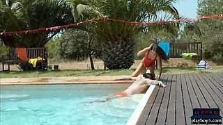 Spanish lifeguard beauty saves a guy from the pool