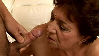 Fat granny Yulianna blows before getting fucked every which way