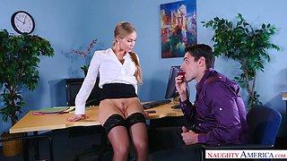blonde milf seducing handsome boss