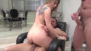 they fuck her pussy and ass simultaneously @ marica: gaping dp & foot sex threesome