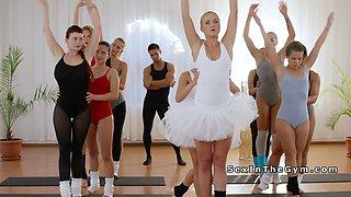 Hot ballerinas sharing big cock at gym