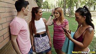 Gala Brown and Claudia Bavel and Irina Vega make a man's dick pulsate