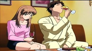 A lovely anime couple talking about their future while having a dinner