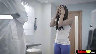 Perv doctor performs humiliating tests on ebony athlete