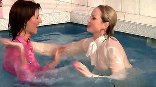 European Babes Joke Around The Pool Getting All Wet
