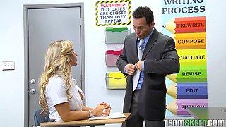 Blonde Schoolgirl Sucking Her Teacher For Better Grades