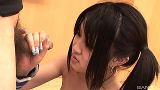 Japanese brunette teen slut gangbanged and abused after a workout