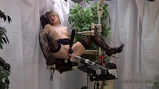 hot blonde in pattern stockings cums hard from machine