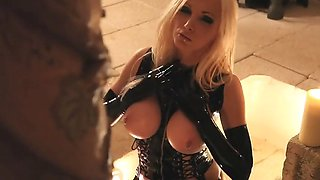 blonde lady latex big boobs pierced