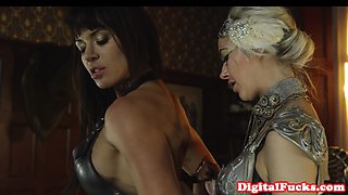 Glamorous lesbians pussylick in sapphic duo