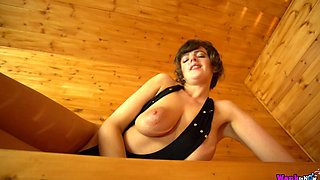 kate anne in the sauna playing with her big tits