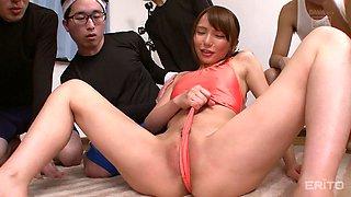 Ayumi Takanashi masturbates in front of a bunch of randy men